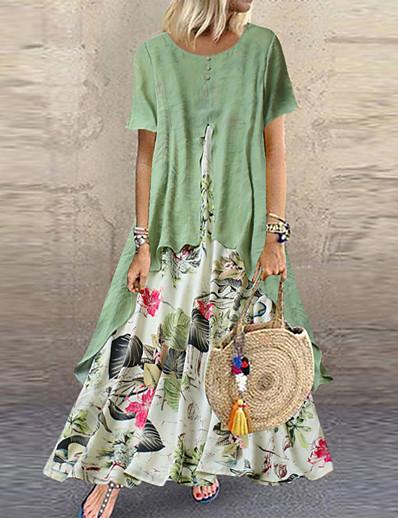 cheap Maxi Dresses-Women's Maxi long Dress - Short Sleeve Floral Layered Button Print Summer Plus Size Casual Holiday Vacation Loose 2020 Purple Yellow Pink Orange Green M L XL XXL XXXL XXXXL XXXXXL