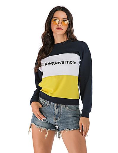 cheap Hoodies & Sweatshirts-Women's Basic Sweatshirt - Solid Colored / Color Block / Letter Blue S
