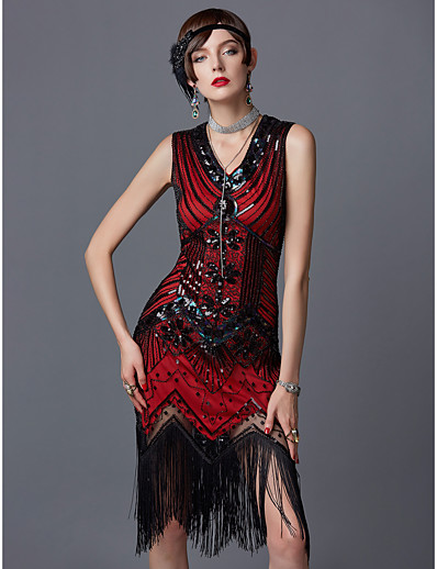 cheap Women-The Great Gatsby Charleston Roaring 20s 1920s Roaring Twenties Vacation Dress Prom Dresses Flapper Dress Party Costume Masquerade Cocktail Dress Women's Sequins Tassel Fringe Spandex Costume Red