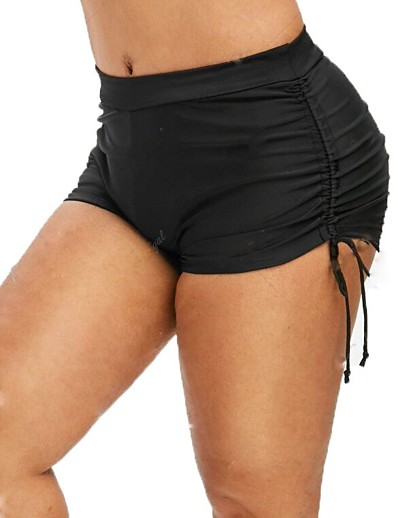 cheap Bikini Bottoms-Women's Plus Size Basic Boho Black Boy Leg Bottoms Swimwear Swimsuit - Solid Colored Lace up L XL XXL Black