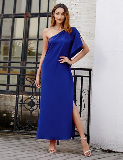 cheap Elegant Dresses-Women's Basic Swing Dress - Solid Colored Ruched Split Patchwork Black Fuchsia Blue S M L XL