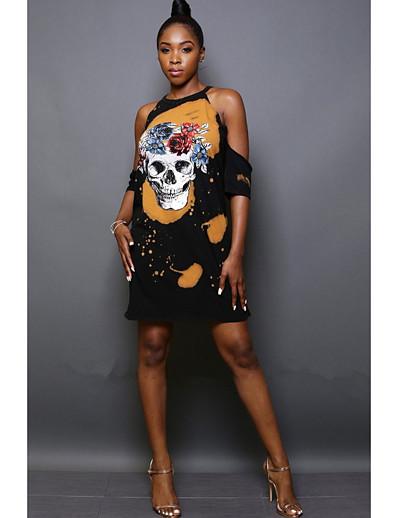 cheap Halloween2019-Women's Halloween Shift Dress - Geometric Black S M L XL