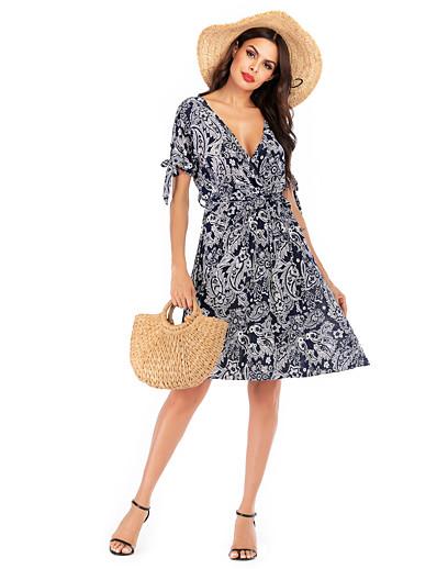 cheap Summer Dresses & Boho-Women's Basic Street chic Swing Dress - Geometric Print Royal Blue S M L XL