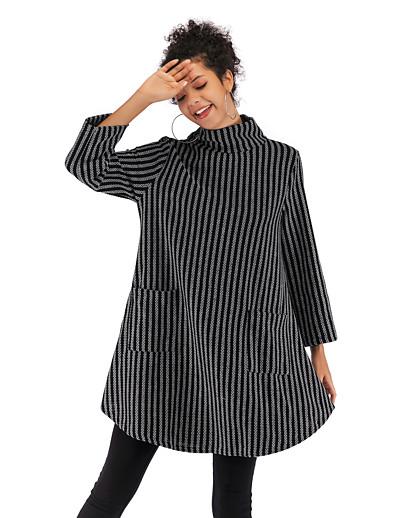 cheap Hoodies & Sweatshirts-Women's Basic / Street chic Sweatshirt - Striped Black M