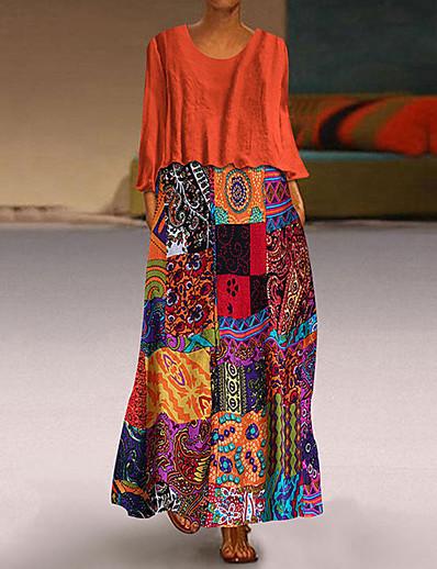 cheap NEW IN-Women's Plus Size Two Piece Dress Midi Dress - Long Sleeve Geometric Vintage Blue Purple Orange M L XL XXL XXXL XXXXL XXXXXL