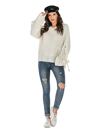 cheap CLOTHING-Women's Solid Colored Long Sleeve Pullover, Round Neck Fall White S / M / L