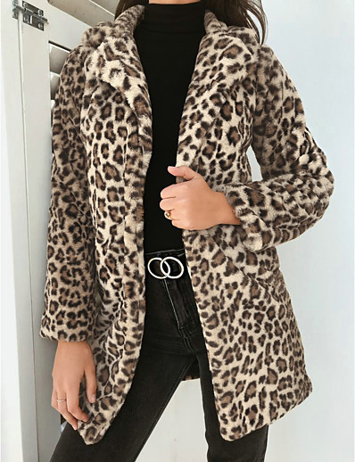 cheap Coats & Trench Coats-Women's Fall & Winter Teddy Coat Regular Leopard Print Daily Khaki Gray S M L XL