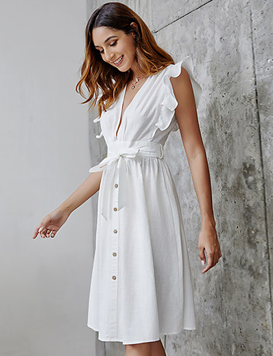 cheap 06/22/2020-Women's A-Line Dress Knee Length Dress - Sleeveless Solid Color Summer Casual 2020 White S M L XL