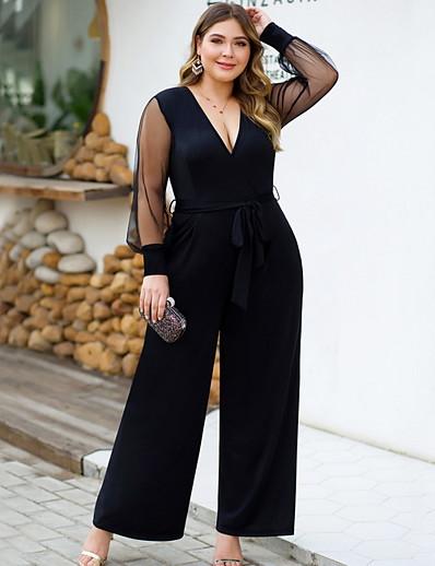cheap CLOTHING-Women's Basic V Neck Black Wide Leg Jumpsuit Onesie, Solid Colored XL XXL XXXL