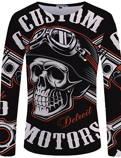 cheap Men's 3D-Men's T shirt Shirt Graphic 3D Skull Plus Size Print Long Sleeve Daily Tops Streetwear Exaggerated Round Neck Black / Fall / Spring