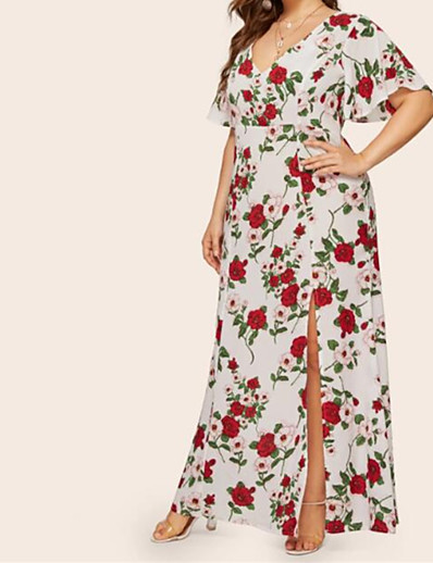 cheap Plus Size Dresses-Women's Plus Size Maxi Tropical Leaf Sheath Dress - Short Sleeve Floral V Neck Boho Street chic Slim White XL XXL XXXL XXXXL