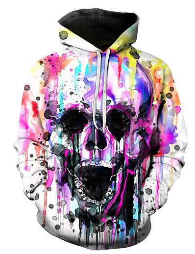 cheap Men's 3D-Men's Plus Size Hoodie 3D Skull Hooded Halloween Casual Streetwear Hoodies Sweatshirts  Rainbow