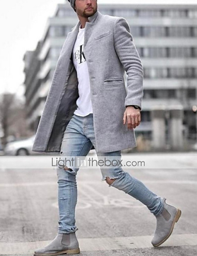cheap Men's Outerwear-Men's Trench Coat Overcoat Daily Regular Coat Notch lapel collar Stand Collar Slim Jacket Long Sleeve Solid Colored Blue Gray Khaki