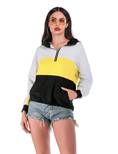 cheap Hoodies & Sweatshirts-Women's Basic / Street chic Hoodie - Geometric White S