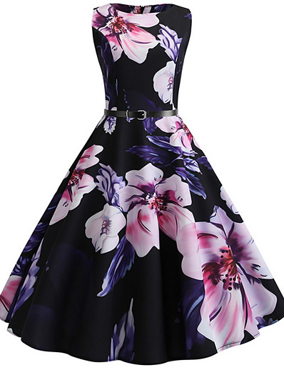 cheap Vintage Dresses-Women's A Line Dress - Floral Black S M L XL