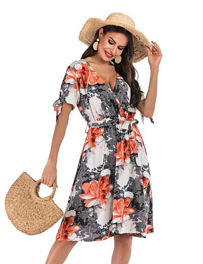 cheap Summer Dresses & Boho-Women's Basic Street chic Swing Dress - Geometric Print Gray S M L XL