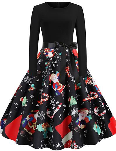 cheap Christmas Dresses-christmas vintage dress, women elegant long sleeve print dresses - o neck xmas evening party swing dress