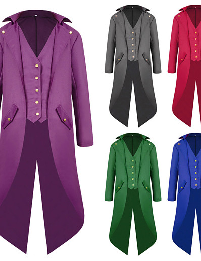 cheap Cosplay & Costumes-Plague Doctor Gothic Vintage Punk & Gothic Medieval Steampunk Tuxedo Tailcoat Frock Coat Men's Costume Purple / Red / Blue Vintage Cosplay Long Sleeve
