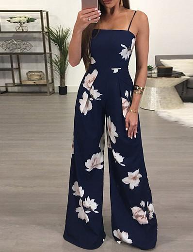 cheap CLOTHING-Women's Basic Strap Navy Blue Wide Leg Jumpsuit Onesie, Floral Print S M L