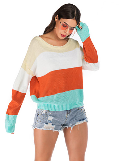 cheap CLOTHING-Women's Color Block Long Sleeve Pullover, Round Neck Fall White S / M / L