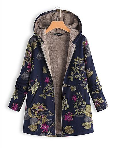 cheap Down& Parkas-Women's Floral Plus Size Regular Padded, Wool Blend White / Orange / Blue S / M / L / Loose