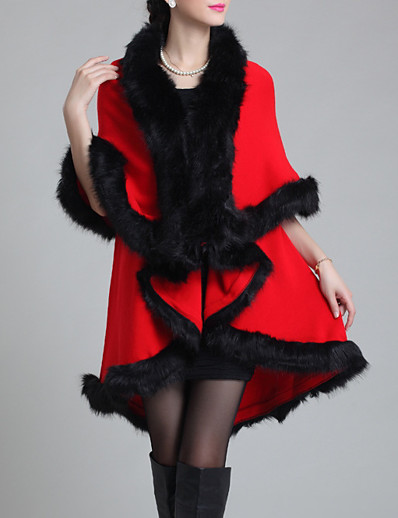 cheap Furs & Leathers-Women's Daily Regular Faux Fur Coat, Solid Colored V Neck Half Sleeve Faux Fur Black / Purple / Fuchsia