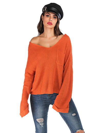 cheap Clothing-Women's Solid Colored Long Sleeve Pullover, V Neck Fall Orange S / M / L