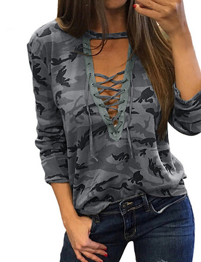 cheap Tops-Women's Daily Basic T-shirt - Camo / Camouflage Print V Neck Gray