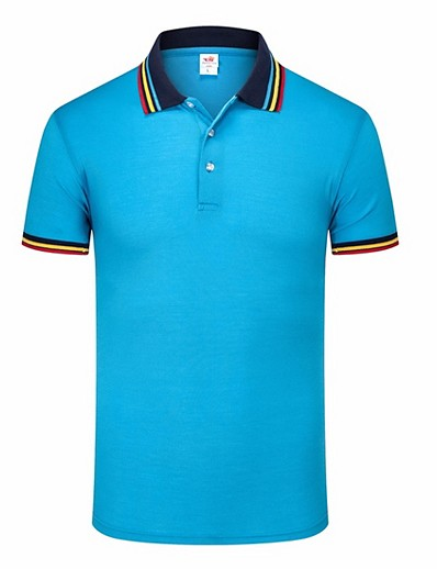 cheap MEN-Men's Polo Solid Colored Short Sleeve Daily Tops White Black Blue