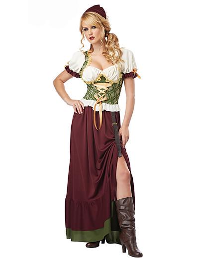 cheap Cosplay & Costumes-Carnival Oktoberfest Beer Dirndl Trachtenkleider Women's Dress Headwear Bavarian Vacation Dress Costume Coffee