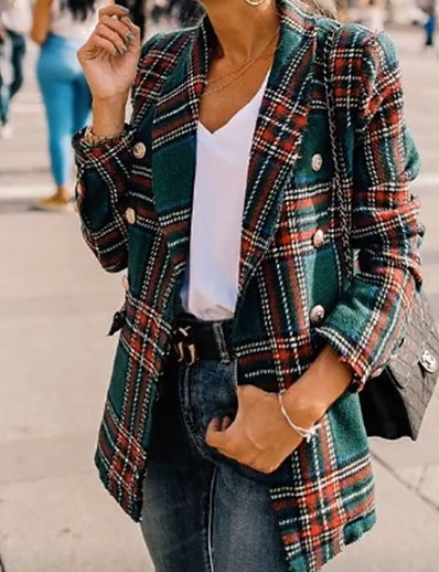 cheap Jackets & Blazers-Women's Daily Spring Short Coat, Plaid Rolled collar Long Sleeve Polyester Green / Red / Slim