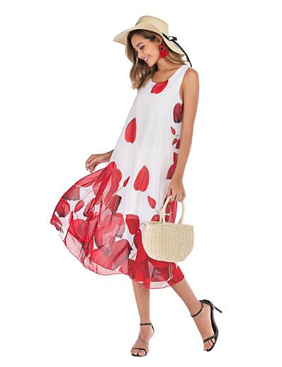 cheap SALE-Women's Basic Street chic Swing Dress - Floral Print White M L XL