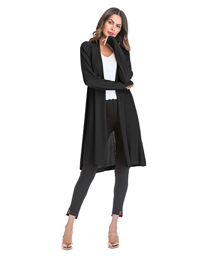 cheap CLOTHING-Women's Solid Colored Long Sleeve Cardigan, Turndown Fall Black / Red / Beige M / L / XL