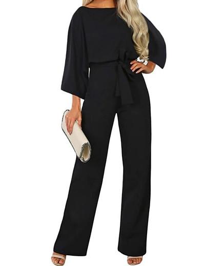 cheap Women's Jumpsuits-Women's Streetwear Black Navy Blue Beige Loose Jumpsuit Solid Colored Drawstring