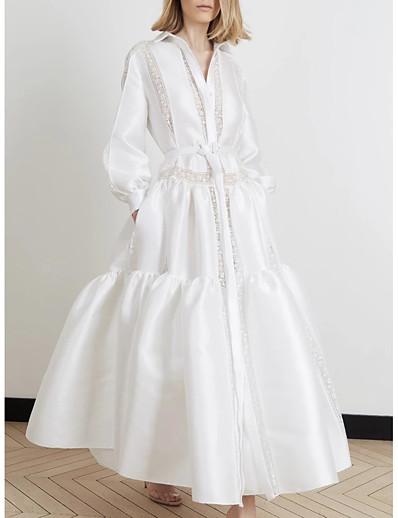 cheap Daily Dresses-Women's Sheath Shirt Dress - Solid Colored White S M L XL
