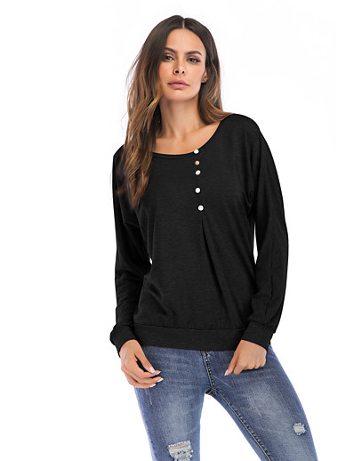 cheap TOPS-Women's Daily Basic / Street chic T-shirt - Solid Colored Black
