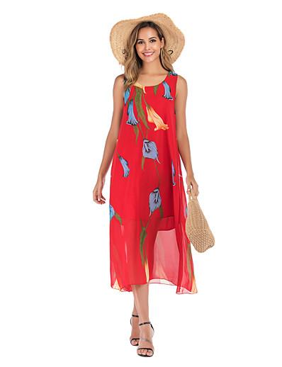 cheap Summer Dresses & Boho-Women's Basic Street chic Swing Dress - Floral Print Red M L XL