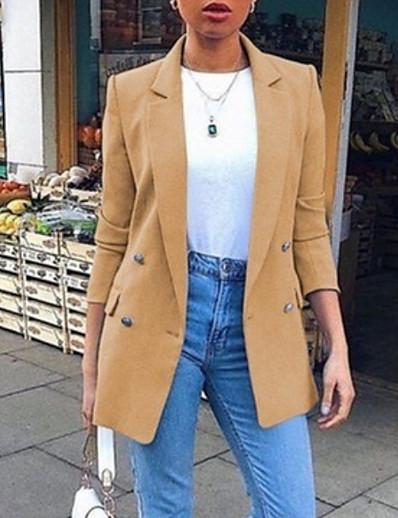 cheap Jackets & Blazers-Women's Blazer White / Black / Blue S / M / L