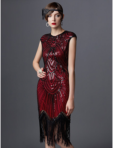 cheap Historical & Vintage Costumes-The Great Gatsby Charleston 1920s Vintage The Great Gatsby Roaring Twenties Vacation Dress Flapper Dress Women's Sequins Costume Golden / Black+Golden / Black+Sliver Vintage Cosplay Party Homecoming