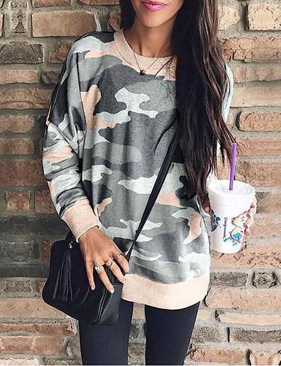 cheap Hoodies & Sweatshirts-Women's Basic Sweatshirt - Camo / Camouflage Blushing Pink S