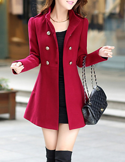 cheap Outerwear-Women's Coat Solid Colored High Waist Basic Fall Coats & Jackets Stand Collar Long Business Long Sleeve Polyester Coat Tops Blue / Winter / Spring / Work