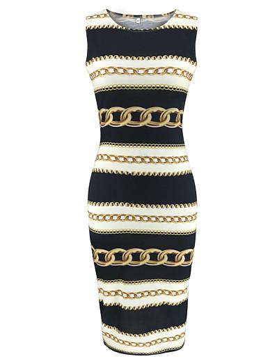 cheap Bodycon Dresses-Women's Sheath Dress - Sleeveless Color Block Print Basic Black S M L XL