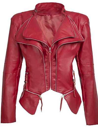 cheap CLOTHING-Women's Daily Regular Leather Jacket, Solid Colored Stand Long Sleeve PU Black / Red