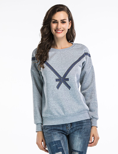 cheap Hoodies & Sweatshirts-Women's Basic / Cute Sweatshirt - Solid Colored White S