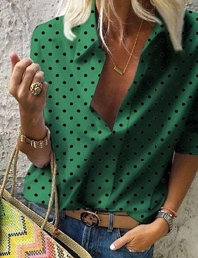 cheap Tops-Women's Plus Size Polka Dot Shirt Daily Shirt Collar White / Blue / Red / Green