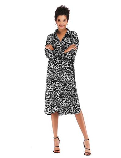 cheap TOPS-Women's Daily Basic / Street chic Shirt - Leopard Print Black