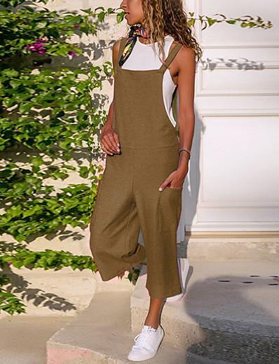 cheap CLOTHING-Women's Active Strap Royal Blue Gray Khaki Loose Jumpsuit Onesie, Solid Colored S M L Cotton