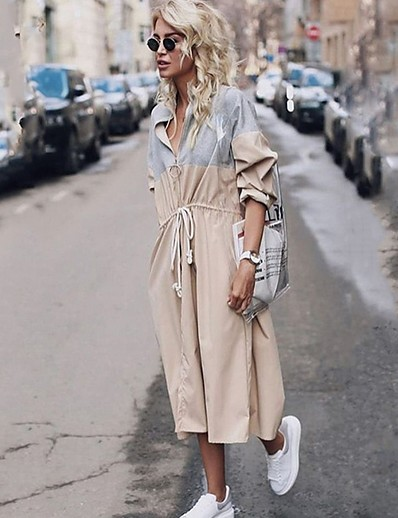 cheap OUTERWEAR-Women's Daily Long Trench Coat, Color Block Turndown Long Sleeve Polyester Beige