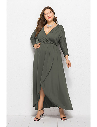 cheap PLUS SIZE-Women's Asymmetrical Plus Size Wine Purple Dress Elegant Swing Solid Colored V Neck XL XXL