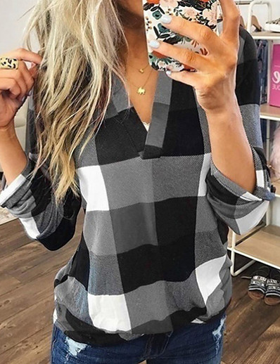 cheap Blouses & Shirts-Women's Blouse Shirt Plaid Check Color Block Long Sleeve V Neck Tops Basic Top Blue Purple Red